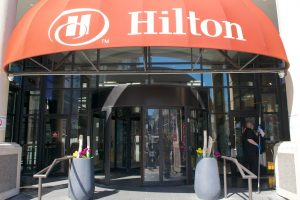 revolving door in Hilton Hotel