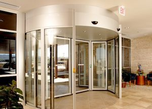 a commercial revolving door installed by Horton Automatics of Ontario