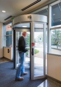 How a man using revolving door