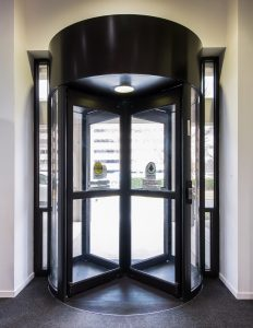 revolving door in building